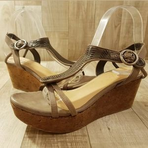 Coclico Anthropologie Womens Sandals Wedge Brown